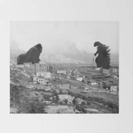 Old time Godzilla vs King Kong Reprised Throw Blanket