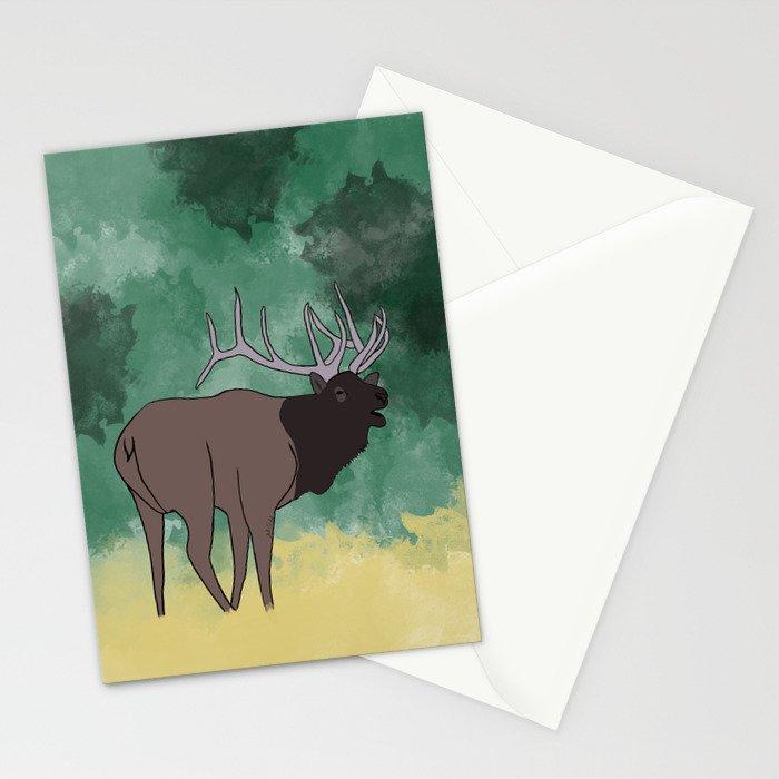 Bull Elk Bugling Stationery Cards