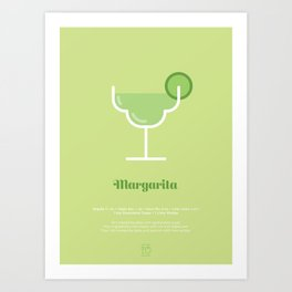 Margarita Cocktail Recipe Art Print Art Print