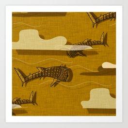 Whale Shark Yellow  #nautical #whaleshark Art Print