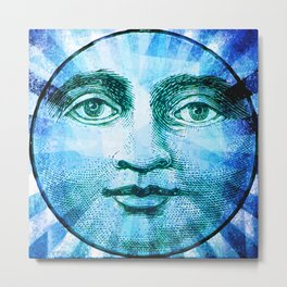 Vintage Moon Face Metal Print