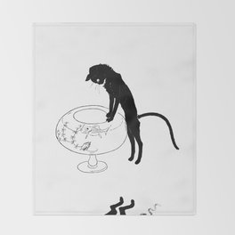 """Théophile Steinlen """"Cats: Pictures without Words (Cat and fishbowl)"""" (1) Throw Blanket"""