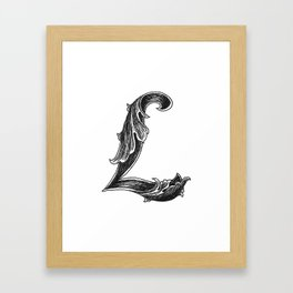 Leaf Script L Framed Art Print
