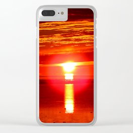 Fireball and the sea Clear iPhone Case