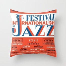 Vintage 1949 Paris International Jazz Festival Poster Throw Pillow