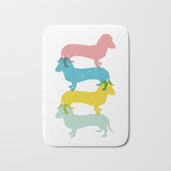 Four dachshund wall art print Bath Mat