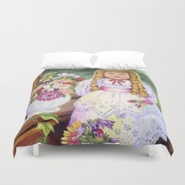 Pretty Baby Oil Still Life Duvet Cover