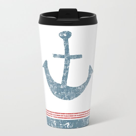 Maritime Design- Nautic Anchor on stripes in blue and red #Society6 Metal Travel Mug