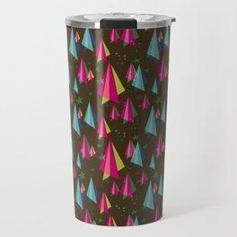 Geometric Christmas Trees in Dark Tones Travel Mug