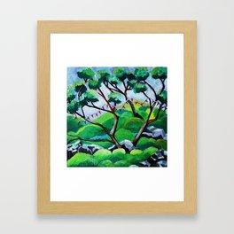 Japanese Garden with Flags Framed Art Print