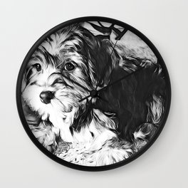 Penny the Yorkipoo as a Puppy Wall Clock