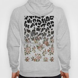 Abstract black white brown floral animal print Hoody