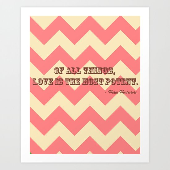 Chevron Love Art Print