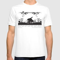 Alice's Adventures In Wonderland Black and White Illustrated Quote Mens Fitted Tee White LARGE