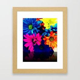 Neon Daisies Framed Art Print