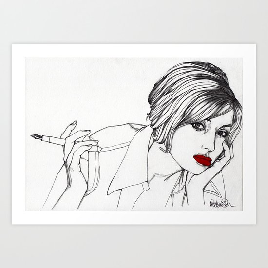 Girl With The Mont Blanc Art Print