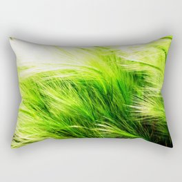 Green Swaying Grass in Summer Breeze Rectangular Pillow