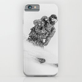 Ski Powder // Black and White Snowy Colorado Backcountry Skiing Whiteout Snowing iPhone Case
