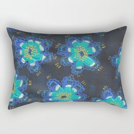Blue Lace Rose Rectangular Pillow