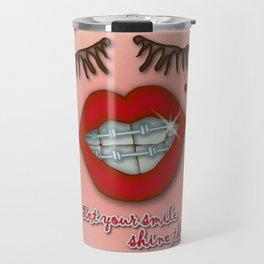 Shiny Braces, Red Lips, Mole, and Thick Eyelashes Travel Mug