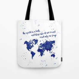 The world is a book (blue world map) Tote Bag