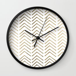 Elegant white faux gold chevron geometrical pattern Wall Clock