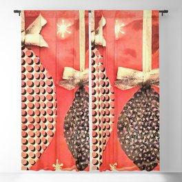 Coral Colored Hanging Christmas Ornaments Blackout Curtain