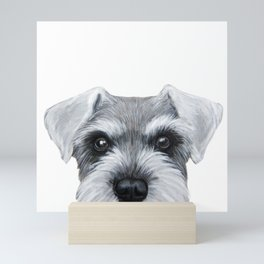 Schnauzer Grey&white, Dog illustration original painting print Mini Art Print