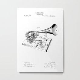 patent art Berliner Gramophone 1895 Metal Print