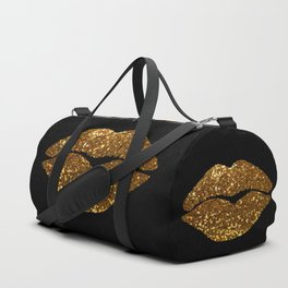 Gold Sparkle Kissing Lips Duffle Bag
