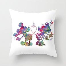 Mickey Loves Minnie Throw Pillow