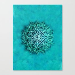Elegant Turquoise Watercolor Mandala Canvas Print