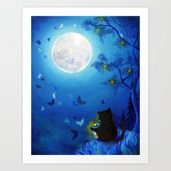 Butterflies and Fairy Lanterns Art Print