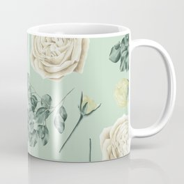 Rose Pattern Cream + Mint Green Coffee Mug