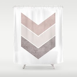 DARK BLUSH GRAY CONCRETE CHEVRON Shower Curtain