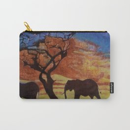 sunset on elephant family moving Carry-All Pouch