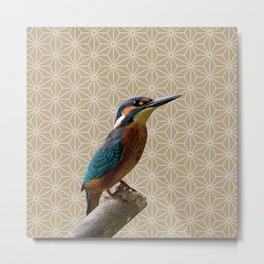 Kingfisher Montage (Warm Sand) Metal Print