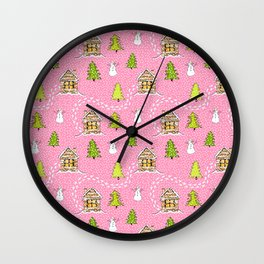 Alpine Ski lodge on Pink Wall Clock