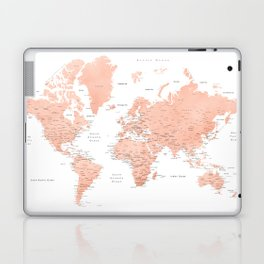 "Rose gold world map with cities, ""Hadi"" Laptop & iPad Skin"