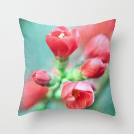 Textured Chaenomeles Japonica Throw Pillow