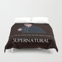 dean winchester Duvet Covers featuring Supernatural - Dean Winchester by MacGuffin Designs