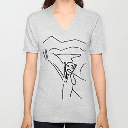 the scream by munch: low effort recreation in ms paint Unisex V-Neck