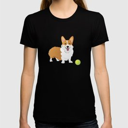 Corgi Dog with a Green Ball T-shirt