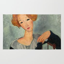 """Amedeo Modigliani """"Woman with Red Hair"""" (1917) Rug"""