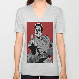 Johnny Cash Zombie Portrait Giving the Finger Print Unisex V-Neck