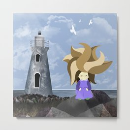 WasteLand Girl and a lighthouse Metal Print