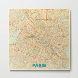 Paris Map Retro Metal Print