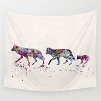 wolves Wall Tapestries featuring Wolves by Watercolorist