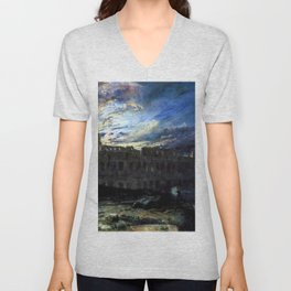Coliseum by Moonlight by Frederick Lee Bridell Unisex V-Neck