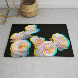 Pale Pink Roses on Black with Glitch Rug